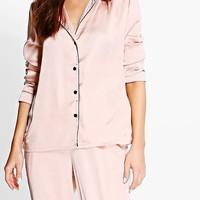 Esme Contrast Piping Button Down Satin Set | Boohoo