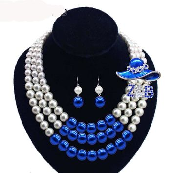 Women Three Strands Zeta Blue beaded Pearl Necklace Earring Jewelry Set