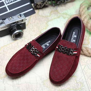 Mens loafers 2016 Trendy Nubuck Leather Non-Slip Men Flats Shoes Casual Vintage Style Men loafers Red bottom Driving Shoes Men