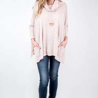 Blush Cowl Neck Pocket Top