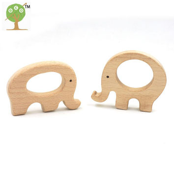 20 pcs cute wooden round elephant couple love baby teether nursing necklace charm educational gift smooth safe shower gift EA91