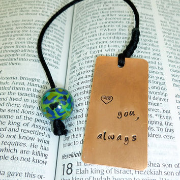 Love You Always - Hand Stamped Copper Bookmark with Polymer Clay Beading