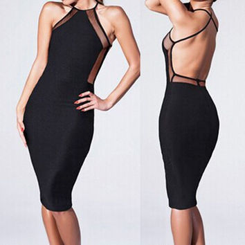 Black Mesh-Paneled Backless Bodycon Dress