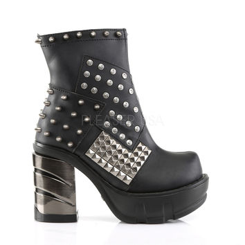 Sinister 64 Chrome Block Heel Platform Ankle Boot