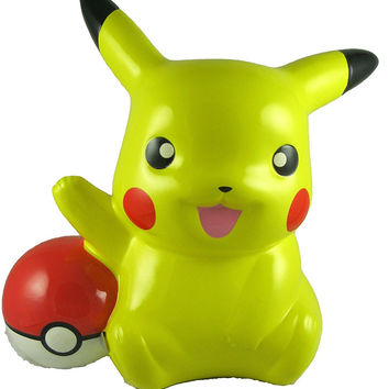 "Pokemon Pikachu Poke Ball Money Coin Bank, Collectible Piggy Bank 8"" Tall"