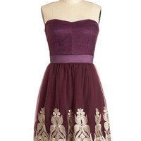 Strapless A-line Nom de Plum Dress