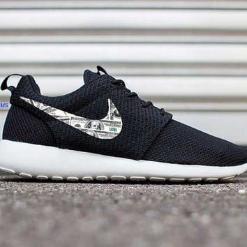 Custom 100's Money Bills Nike Roshe Run Fabric Design Customized Personalized 2015 Hand Made In USA