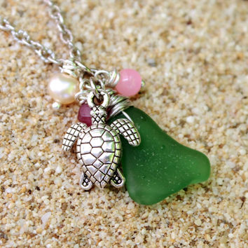 Sea Glass Jewelry from Hawaii - Sea Turtle Anklet - Seaglass Ankle Bracelet - Beach Boho Jewelry - Sea Glass Anklet - Hawaiian Honu Anklet