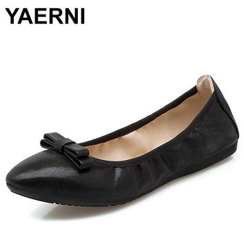 YAERNI  2018 New Foldable Ballet Women Flat Shoes Loafers Female Pointed Toe Bow Casual Shoes E714