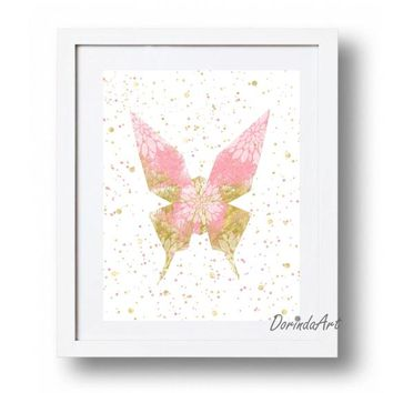 Floral Butterfly Printable Wall Art Decor Pink and gold Nursery decor Sparkle Glitter Butterfly Print 5x7 8x10 11x14 16x20 INSTANT DOWNLOAD