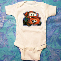 Baby Onesuit with Applique--Funny Cars