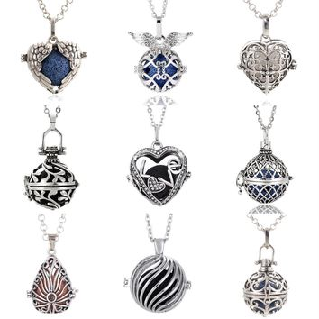 1PC Vintage Love in Heart Angel Caller Sea-weed Twist Locket Essential Oil Diffuser Pendant Necklace Aroma Necklace Lava Rock
