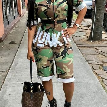 """Army Green Camo """"JUNKIE"""" Print American Flag Pockets Zipper Bodycon Independence Day Casual"""