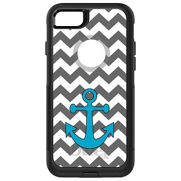 DistinctInk™ OtterBox Commuter Series Case for Apple iPhone or Samsung Galaxy - Grey White Chevron Teal Anchor