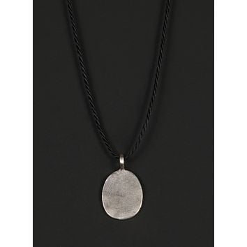 Men's Cord Necklace with Sterling Silver Oval Tag Pendant