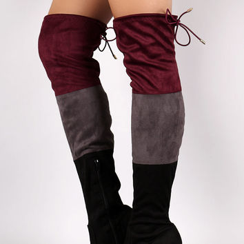 *Suede Tri-color Over-The-Knee Chunky Heel Boots