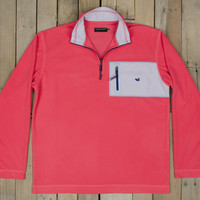 Southern Marsh FieldTec Dune 1/4 Zip Seersucker Pullover- Strawberry Fizz