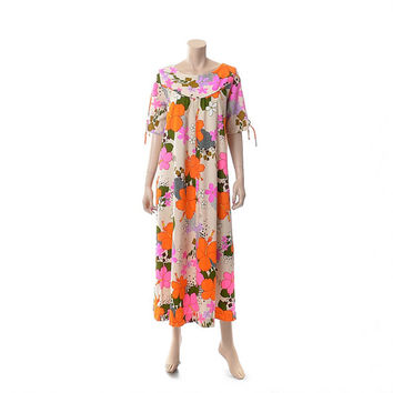 Vintage 60s 70s Groovy Floral Hawaiian Dress 1960s 1970s Near Neon Pink & Orange Print Bark Cloth Tapa Polynesian Luau Caftan Muumuu Dress