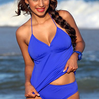 UjENA Todo Santos Tankini D200 Women's Swimwear Swimsuit Halter style  Removable padding Scoop front High Waisted coverage