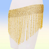 Hot  Bead Belly Dance Dancing Costumes  Hip Skirt Scarf Belt Wrap Gold