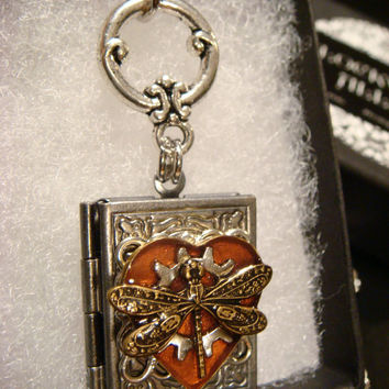 Steampunk Style Heart with Dragonfly and  Gear Book LOCKET Necklace- Makes a great VALENTINES DAY Gift (1930)