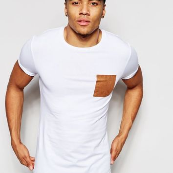 ASOS | ASOS Muscle T-Shirt With Faux Suede Pocket And Roll Sleeve In White at ASOS