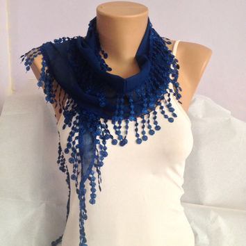 Midnight Blue Scarf  - Blue Lace Scarf - Cotton Scarf With Fringes - Elegant Scarf