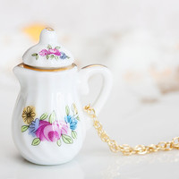 Miniature Teapot Necklace Pink Floral Porcelain Tea Set Jewelry Tea Party Necklace - N183