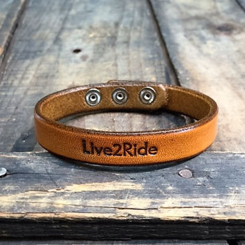 Live2Ride Punched Leather Bracelet