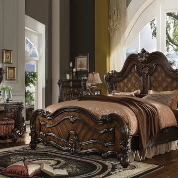 5 pc versailles collection cherry oak finish wood carved accents headboard queen bedroom set