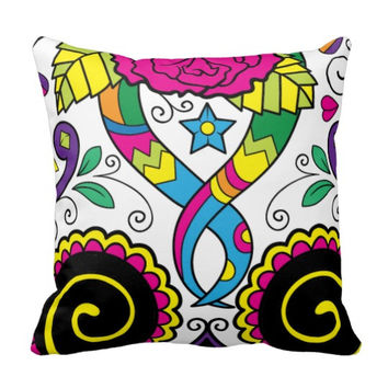 """Very Bright Mexican """"Day of the Dead"""" Art Pillow"""