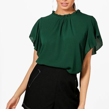 Woven Frill Sleeve & Neck Blouse | Boohoo