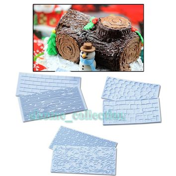 6pcs/set Texture Tree Bark Brick Wall Impression Moulds Sunflower Lace Wood Silicone Mat Fondant Cake Decorating Tools Bakeware
