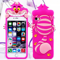Hot Cute 3D Alice In Wonderland Cheshire Cat Soft Silicone Capa Phone Cases Cover For iPhone 4 4S 5 5G 5S SE 6 6G 6S 6Plus 5.5