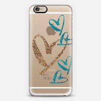 aqua and gold hearts transparent iPhone 6 case by Sylvia Cook | Casetify