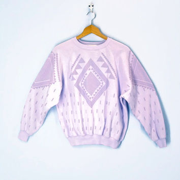 80s Sweatshirt Slouchy Lavender Southwestern Soft Top