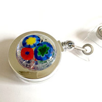 Fused glass badge reel - badge reel - ID tag reel - ID badge - retractable badge reel - retractable fused glass badge holder - flower