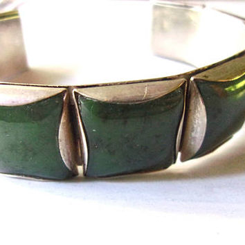 Green Jade Squares Sterling Silver Cuff Bracelet, Flexible Band, Vintage