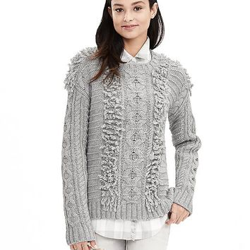 Banana Republic Textured Cable Knit Crew Pullover