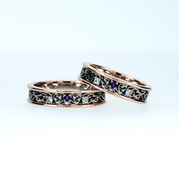 Filigree wedding band set with amethyst and diamonds, two tone, rose gold filigree, white gold wedding ring, matching ring, purple, band man