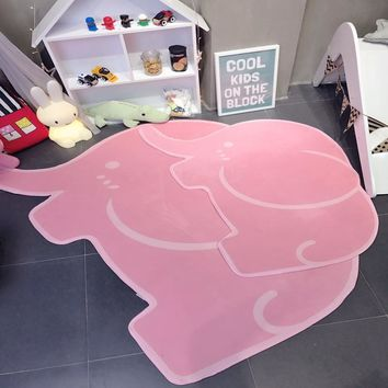 Elephant shaped doormat soft polyester hand washable high quality grey or sweet pink pure color children's carpet comfortable