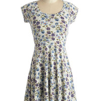 ModCloth Vintage Inspired Mid-length Cap Sleeves A-line Garden Retreat Dress
