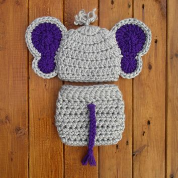 Baby Elephant Hat And Diaper Cover Set Dallas Grey Newborn Photo Prop