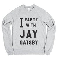 I Party With Jay Gatsby (Vintage Sweater)-Heather Grey Sweatshirt