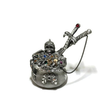 Fantasy Treasure & Pirates Spoontiques Pewter Jeweled Treasure Cauldron