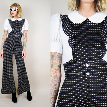 POLKA DOT 70's Ruffle Bib Pinafore Jumpsuit Bell Bottom PANTSUIT Flared Dolly Collar xxs / xs