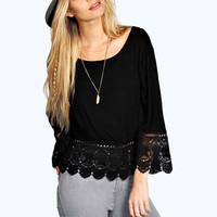 Lace Embroidered Bell Sleeve Blouse