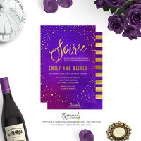 Printable Wedding Anniversary Invitation, Printable Anniversary Invite, Starry, Purple Watercolor, Faux Gold, Wedding Anniversary Party