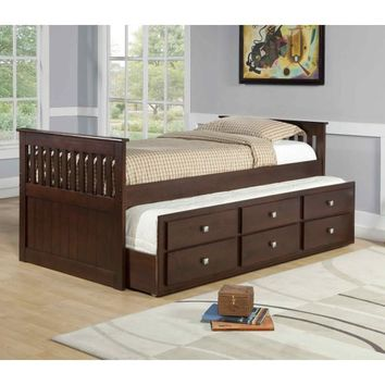 Owen Captains Bed with Storage and Trundle in Cappuccino