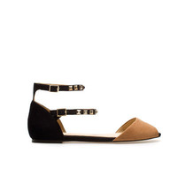 FLAT SANDALS WITH STUDDED ANKLE STRAP - Flats - Shoes - Woman - ZARA United States